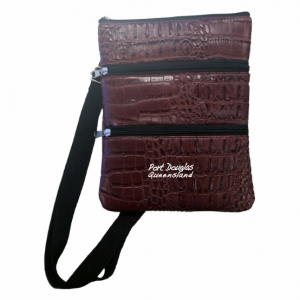 3 Compartment Bag Brown Croc Skin
