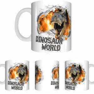 Dinosaur Sublimated White Mug
