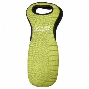 Single Wine Bottle Holder Green croc Skin
