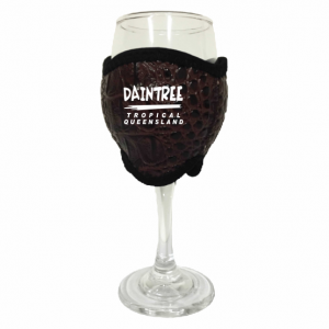 Wine Glass Cooler Brown Croc Skin