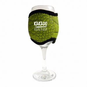 Wine Glass Cooler Green Croc Skin