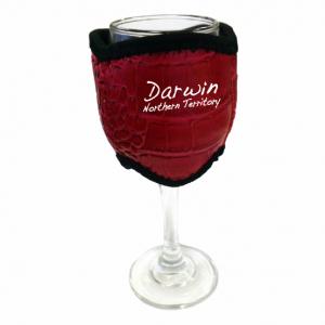 Wine Glass Cooler Red Croc Skin