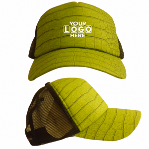 Curved Peak Truckers Cap Green Croc Skin