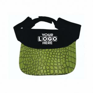 Curved Peak Visor Green Croc Skin