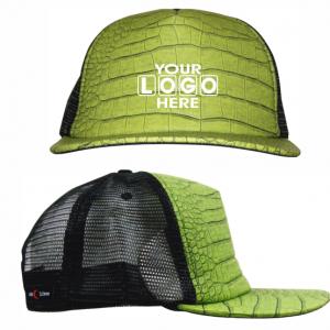 Flat Peak Truckers Cap Green Croc Skin