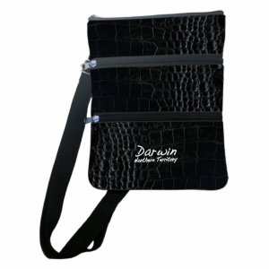 3 Compartment Bag Black Croc Skin