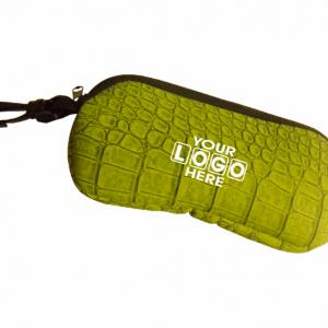Glasses Case Green Croc Skin
