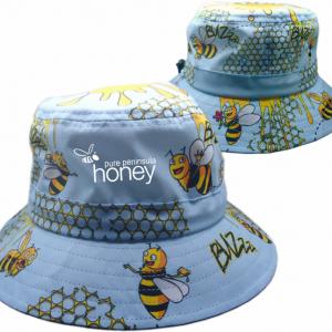Honey Bees Light Blue Bucket Hat