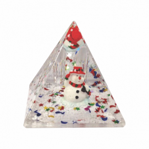 Oily Snow Pyramid Snowman with Red Hat
