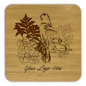 Cassowary and Frog Bamboo Coaster