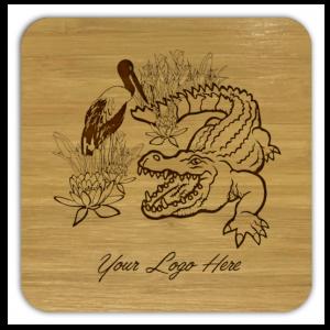 crocodile & jabiru bamboo coaster