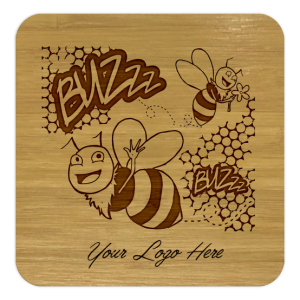Honeybees, Honeycomb Bamboo Coaster