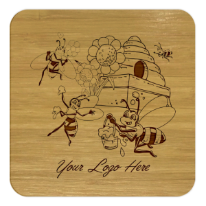Comic Honey Bees Bamboo Coaster